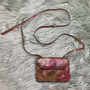 HOBO Pink and Yellow Shimmer Suede Crossbody